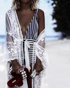 striped swimsuit, lace kimono, white lace, beach babe, beach bum, beach style, ootd, outfit ideas, what to wear, fashion blogger, street style, style blogger, outfit details, insta style, blogger outfit