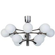 Exceptional Orbital Form Sputnik Chandelier or Flush Mount