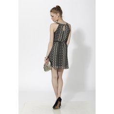 Vestido corto de georgette con apertura y fruncido en pecho Negro - Mauna Barcelona - fashion - moda