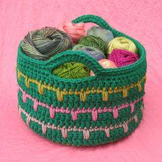 Free Crochet Pattern: Spikes Yarn Basket | Gleeful Things