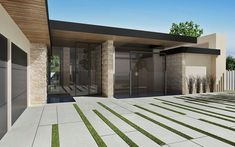 contemporary modern pale stone linear driveway intersected grass strips    MARCHEETA #vanos architects