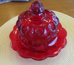 Vintage Mosser Ruby  Red Glass Butter Dish with by 521lakestreet, $22.00