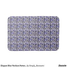 Elegant Blue Verdure Pattern Bath Mat