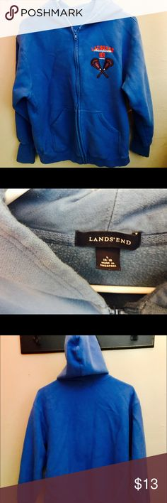 Land's End Hoodie Boys L (14-16) super thick blue You're thinking, 'ok, it's a hoodie'. No.....it's only the most comfortable hoodie there is. I'm not kidding. If it fit me I would keep it. It is super thick and buttery soft. Land's End clothing runs a bit on the larger side, but this is a boy's L (14-16) would fit a much larger boy. Excellent gently used condition. Lacrosse distressed symbol. A deep sky blue. Totally worth owning. Land's End Shirts & Tops Sweatshirts & Hoodies