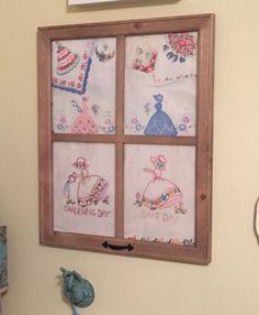 I+framed+these+vintage+tea+towels,+scarves+and+hankies+in+a+frame+I+got+at+WalMart..