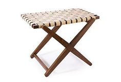 Could I make a bedside table from a laundry bag stand and woven fabric? Actual link is to a $299 stool.