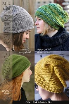 Easy free hat knitting patterns, including free slouch-style hat knitting patterns.
