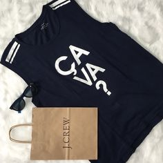 J. Crew Ça Va Collector's Tee Never worn, excellent condition, measurements as shown. Navy blue and white. SOLD OUT online. J. Crew Tops Tank Tops