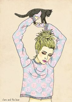 Rodart and Kitty illustration by Clare and the Bear. ALL RIGHTS RESERVED. #clareandthebear #portrait #fashion #fashionillustration #illustration #art #bohemian #ethereal #whimsical #cat #kitten #rodart #blonde  #vintage #hair #beauty #womenswear #fashiondesign