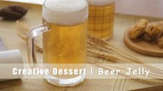 I don't know how much you can drink. I won't get drunk for this cup of beer, you can do it. Hahaha, actually this is beer jelly. Although it looks like beer, this creative dessert is actually made from apple juice. Beer Jelly Recipe, Jelly Recipes, Steak Marinade Recipes, Pineapple Sage, Spiced Apple Cider, Cider Making, Cheese Ingredients, Vegan Cream Cheese, Creative Desserts
