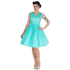 Wendy Polka Dot Rockabilly Swing Dress in Aqua -NOW £19.99
