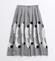 midi skirt with seagull print