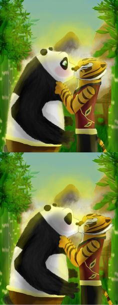 Request from ! Man, I can't draw kisses. xD haha Well, hope you like it Envy! This took me a few hours because my computer was acting stupid. I attempted a first try on the first picture but my com. Tigress Kung Fu Panda, Po And Tigress, Po Kung Fu Panda, Panda Love, Panda Bear, Dragon Warrior, Adult Cartoons, Romance, Disney And Dreamworks