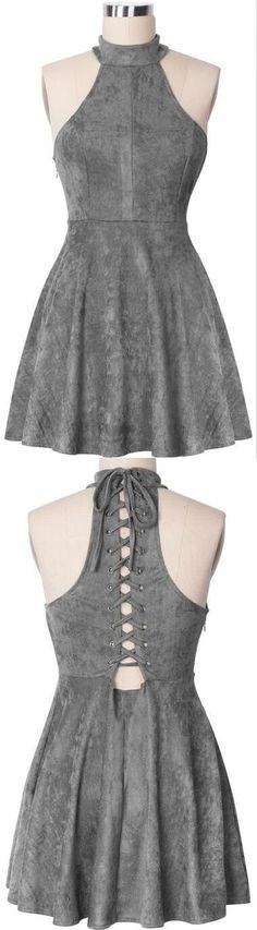 2017 High Neck Grey Homecoming Dress,Suede Lace up Back Graduation Dress,Short A Line Prom Dress