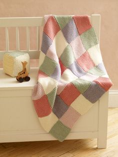 Image of Loom Knit Patchwork Garter Baby Throw