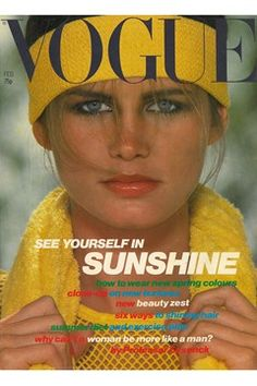 """Vogue UK cover February 1978. """"Close-up on sunshine, the colour of spring '78"""""""