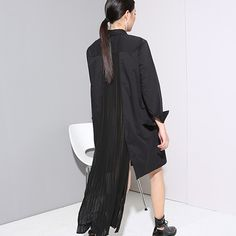 Stitching Pleated Chiffon Long Shirt Dress //Item is FREE Shipping Worldwide! //     #fashion #autumn #winter #spring #trending #latest #new