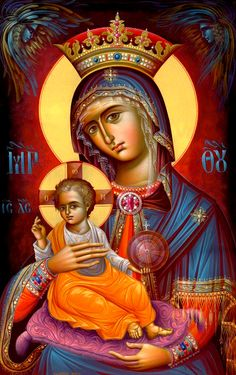 our lady of the blessed sacrament -beautiful icon. I wish I could find the artist though. Religious Images, Religious Icons, Religious Art, Madonna, Byzantine Icons, Byzantine Art, Virgin Mary, Immaculée Conception, Greek Icons