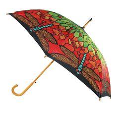 CTM® Women's Auto Open Tiffany Inspired Stain Glass Print Stick Umbrella