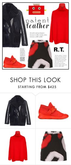 """""""R.T.-1849 City Slickers: Patent Leather"""" by sopo-davituri ❤ liked on Polyvore featuring Yves Salomon, Christopher Kane, Oscar de la Renta, Versace and Charlotte Olympia"""