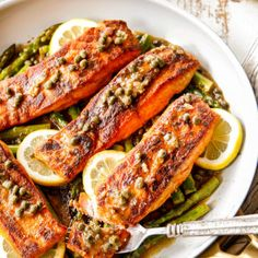 This Salmon and Asparagus post is sponsored by Danish Creamery Butter. All opinions are my own. Salmon and Asparagus bathed in Lemon Piccata Sauce is irresistibly delicious and on your table in 25 minutes! Baked Asparagus, Shrimp And Asparagus, Asparagus Recipe, Best Lasagna Recipe, Salmon Recipes, Egg Recipes, Potato Recipes, Pork Recipes, Kitchens