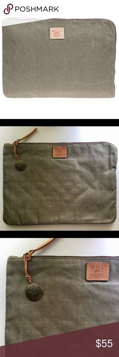 """WILL Leather Goods Waxed Canvas 15"""" Laptop Case Excellent Condition - Barely Used. Rugged appeal and tech-savvy function combine to create Will Leather Goods' 15"""" laptop case, exceptionally sturdy in water-resistant waxed canvas with a soft, protectively padded and quilted canvas lining. -Durable, water-resistant waxed canvas -Quilted, cushioned canvas lining protects laptop up to 15"""" -Top zip with leather pull -Laptop compartment fits up to: 15"""" -Material: Waxed canvas -Dimensions (HxWxD)…"""
