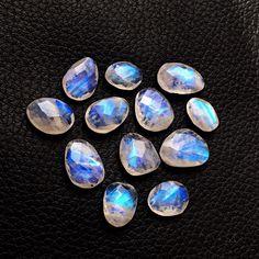 Natural Blue Fire AAA Labradorite Semi Precious Loose Gemstone Cabochons Lot Labradorite Moonstone Gemstone 9mm Round Faceted Cabochon