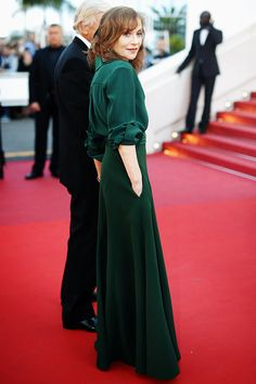 """""""Isabelle Huppert attends the """"Elle"""" Premiere during the 69th annual Cannes Film Festival at the Palais des Festivals on May 21, 2016 in Cannes, France. """""""
