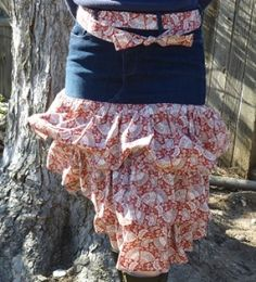 Ruffle Skirt or Apron Upcycled from Jeans or Pants   YouCanMakeThis.com
