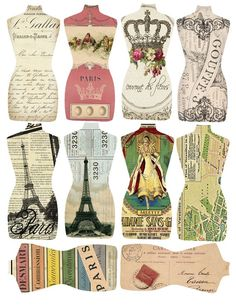 DIGITAL French Torso Tags by shabbycottagestudio on Etsys