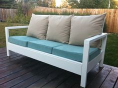 """furniture to make for the sunroom from crib mattresses...  $30 couch frame made from 2x4s.  Adjust measurements to 26""""Wx104""""L in order to accommodate two crib mattresses as seat cushions (much cheaper than custom made couch cushions- bonus that you can also get them moisture resistant).  Then just put big pillows along the back."""
