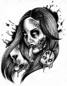Zombie Tattoo Drawings Aim for the head - tattoo