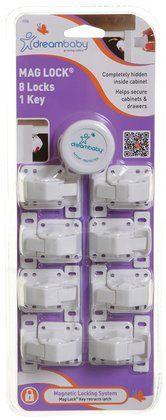 Dreambaby Mag Lock - 8 Locks and 1 Key- White - Free Shipping
