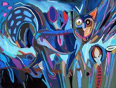 """Tableau """"Le Chat bleuté"""" de Vincent Dufour - Pastel sec de 50/65cm [tableau de style figuration libre et nouvelle figuration]"""