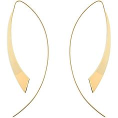 LANA JEWELRY Large Gloss Hooked on Hoops Threader Earrings ($1,475) ❤ liked on Polyvore featuring jewelry, earrings, apparel & accessories, gold, gold jewelry, 14k earrings, yellow gold earrings, 14 karat gold hoop earrings and threader earrings