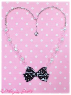 Angelic Pretty: 2013 Dot Cute Ribbon Ribbon Necklace in black
