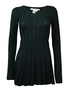 Studio M Womens Knit Long Sleeves Tunic Sweater Green M -- You can find out more details at the link of the image.