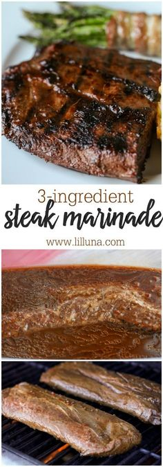 The only steak marinade recipe we ever use! It requires only three ingredients - Italian dressing, and Worcestershire sauce - and makes our steak taste SO amazing! Everyone always asks for this Easy Steak Marinade recipe because it's just that good! Steak Marinade Recipes, Meat Marinade, Grilled Steak Recipes, Grilling Recipes, Meat Recipes, Cooking Recipes, Grilled Meat, Diabetic Recipes, Marinade For Skirt Steak
