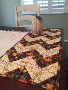 Quilted Chevron Table Runner by ThePlaidPiecemaker on Etsy