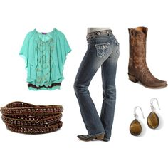 turquoise ~ green ~ brown cowgirl, created by #heather-schoon-johnson