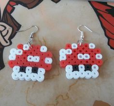Super Mario Bros Red Mushroom Perler Bead Earrings by Makinscents, $8.00