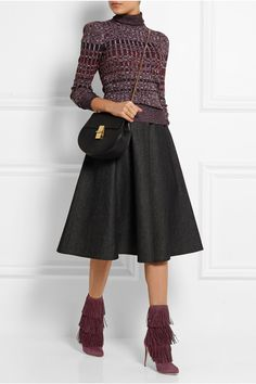 PAUL ANDREW Taos fringed suede ankle boots GUCCI Ribbed-knit wool turtleneck sweater MICHAEL KORS Flared denim skirt CHLOÉ Drew medium textured-leather shoulder bag