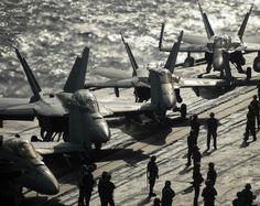 "Sailors Prepare Aircraft to Launch, USS Nimitz CVN-68 Mediterranean Sea November 5, 2013 - 8 x 10"" Photograph"