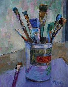 Oil painting of paint brushes in an English pea can. 10 x 8 on wood panel. by Elizabeth Blaylock Art Gallery, Sculpture Art, Acrylic Art, Painting, Oil Painting, Illustration Art, Art Brushes, Art Wallpaper, Typography Art