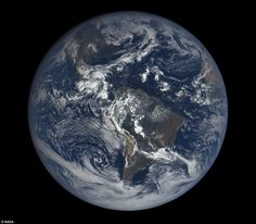 The images are taken by a Nasa camera one million miles away on the Deep Space Climate Observatory (DSCOVR). Pictured is an image of South America taken on Saturday