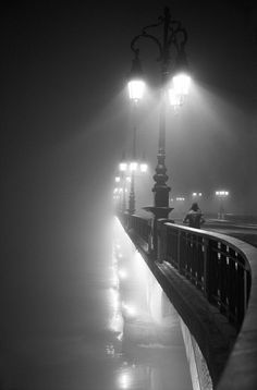 A Crisp Night on the Bridge  http://xaxor.com/photography/40196-black-and-white-inspirational-photos-part-7.html