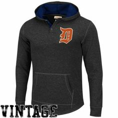 Mitchell & Ness Detroit Tigers Cooperstown Collection Hooded Long Sleeve T-Shirt - Charcoal