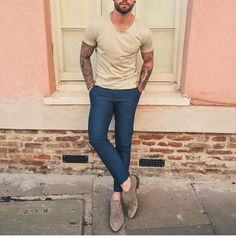 Tan #tshirt and suede shoe by @chezrust [ http://ift.tt/1f8LY65 ] #royalfashionist