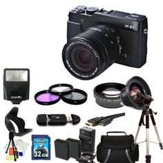 Fujifilm X-E1 with 18-55mm Lens 32GB Deluxe Bundle Kit by Fujifilm. $1268.99. This Package Includes:  * Fujifilm X-E1 with 18-55mm Kit (Black) * 0.45X Wide Angle Lens * 2X Telephoto Lens * Professional 3 Piece Filter Kit (UV-CPL-FLD) * Standard Slave Flash * Flower Lens Hood * 32GB Memory Card * High Speed Card Reader * HDMI Cable * 2 Extended Life Replacement Battery * AC/DC Rapid Home & Travel Charger * Carrying Case * Full Size Tripod * Starter Kit (Table Top Tripo...