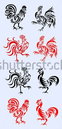 Rooster, Set Rooster Tribal Art Vector Picture stock vector - Clipart.me